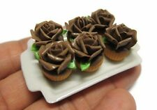 6 Cupcakes Chocolate  Rose Top on Tray Dollhouse Miniatures Food  Bakery