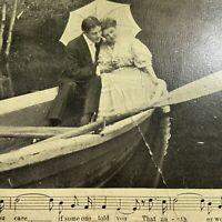 Antique Postcard Semi-Photo Song Series Couple in Row Boat RPPC Real Photo 1908