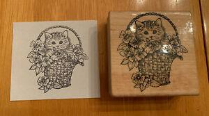 Cat Basket Rubber Stamp Flowers Kitty Kitten Hero Arts Retired Wood Mounted 1988