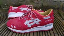 ASICS GEL LYTE III trainers, UK 10, EU 44, Red with White trim, Lightweight, vgc