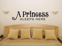 A Princess Sleeps Here Nursery Children's Bedroom Decal Wall Sticker Art Picture