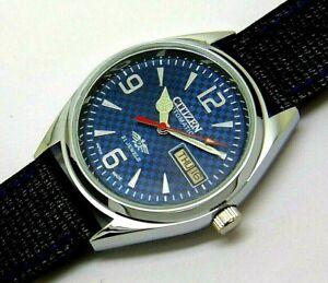 citizen automatic men steel blue dial vintage japan made watch run order