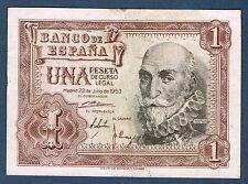 BILLET de BANQUE D'ESPAGNE de 1 PESETA Pick n° 144 du 22 7 1953 en TTB E0042682