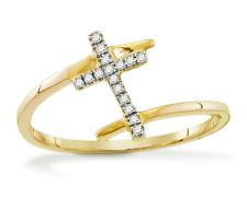 10K Oro Giallo Diamante Bianco Anello Croce .12ct By-Pass Fascia Design 100% 10K