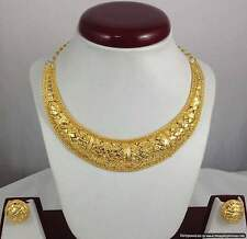 Gold Plated Necklace Earrings set 22K Gold Polishing Indian Fashion Jewelry