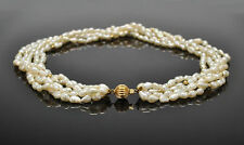 14k Solid Yellow Gold 5 Strand Seed Pearl Torsade Necklace