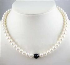 "charming 7-8mm White Pearl + Black Agate Necklace 18"" JN365"