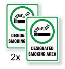 "2x ""DESIGNATED SMOKING AREA"" DECAL/STICKER FOR WALLS, DOORS, WINDOWS"