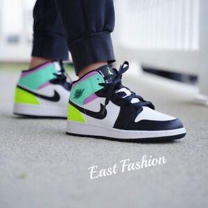 Nike Air Jordan 1 Mid Black Volt Green Glow 2021 554725-175 GS 4Y-7Y