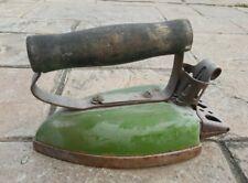 Antique Green Retro Style With Wood Handle Vintage Sad Iron Cast Iron Old u