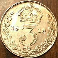 1919 UK GREAT BRITAIN SILVER THREEPENCE