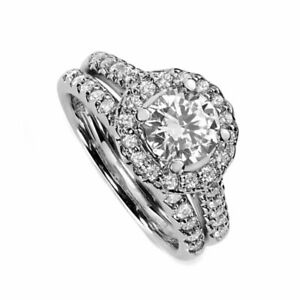 1.80 ct Simulated Diamond Frame Bridal Set Ring In Solid 10K White Gold