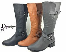 NEW Women's Shoes Knee High Riding Boots Slouch Cowboy Military Motorcycle Flat