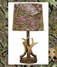 "Mossy Oak Deer Antler Accent Lamp, Dark Woodtone 16"" W/Camo Pattern Lamp Shade"