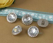 40 X 22mm Clear Acrylic Rhinestone Crystal Sewing Plastic Shank Buttons Craft