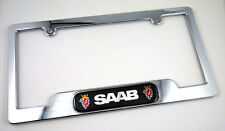 SAAB License Plate Frame Plastic ABS Chrome Plated with Domed insert. Free caps
