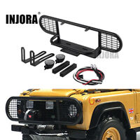 Metal Front Bumper & Led Light fr 1/10 RC Crawler Traxxas TRX4 D90 D110 Defender