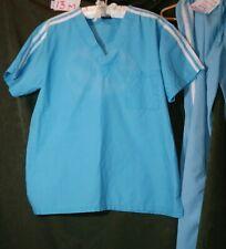 Medgear scrub top small turquoise blue White Stripes