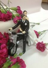Bride and Groom on Motorbike Wedding Cake Topper