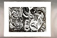 """Lithograph """"The Transformation"""" Werewolf Ina Anderson 1942-2017 Outsider 22 x 30"""