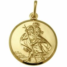 LARGE 9CT GOLD ST SAINT CHRISTOPHER PENDANT CHAIN NECKLACE WITH GIFT BOX - 7.1g