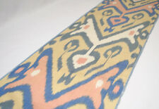 ikat fabric by the yards Uzbek ikat textile Ivory Blue delicate table runner