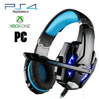 Pro Gamer PS4 Headset for PlayStation 4 Xbox One & PC Computer Blue Headphones