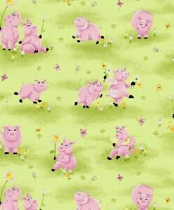 Flip the Pig In Flowers Susybee fabric material FQs pink piglets piggies
