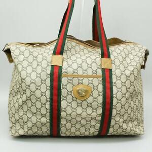GUCCI PLUS Vintage GG Pattern PVC Canvas Sherry Webbing Tote Bag Shoulder JUNK