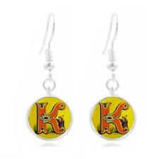 Letter K Victorian Photo Art Glass Cabochon 16mm Charm Earring Earring Hooks