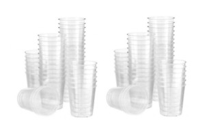 100 X Plastic Clear Disposable Shot Glasses Tumbler Shooters Party Drinking Game