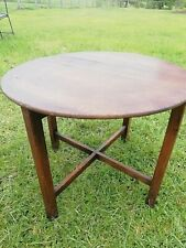 Antique Oak Round Coffee Circa 1930s Cross Stretcher Ex Pub Table Solid & Sturdy