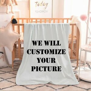 Custom Picture Blanket Throw Flannel Fleece Personalized Gift with Logo Photo