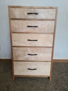 Custom Cherry 5 Drawer Dresser Curly Maple Fronts With HandCut Dovetails