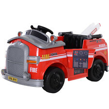 Kids Ride-On Fireman Car 6V with Remote Control, Safety Belt Red