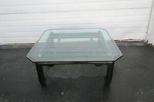 Hollywood Regency Black Painted Glass Top Coffee Table 1577