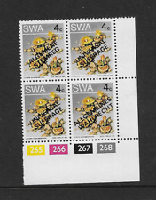 1973 South West Africa - Succulents - Corner Block With Over Print - MNH.
