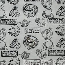 BonEful FABRIC FQ Cotton Quilt B&W Black White S Angry Bird Super Hero Star Wars