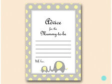 10 X Printed - Yellow Elephant Advice for The Mummy Card Baby Shower Tlc32