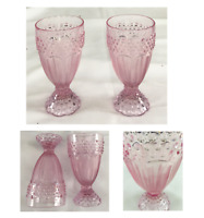 Vintage Gorham PINK Glass Pedestal Goblets 14 oz. Hobnail Herringbone Set of 2