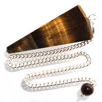 Golden Tiger Eye Point Dowsing Pendulum Crystal Scrying Radiesthesia Shew Stone