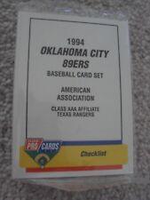 1994 OKLAHOMA CITY 89ERS MINOR LEAGUE TEAM SET (25 CARDS) FPC RUSTY GREER