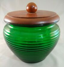 Vintage Green Ribbed Glass Tobacco Humidor with Wood Lid