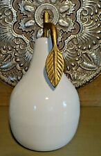 Large White Modern Style Ceramic Pear Figurine With Gold Metal Stem And Leaf