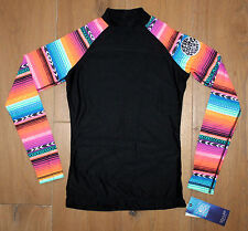 NEW Womens RIP CURL WETTY Long Sleeve UV Surf RASHGUARD - Black Multi Color - XS