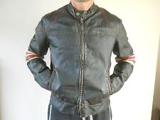 Black  Leather Cafe Racer Wilson Biker Style Slim Fit Retro Vintage jacket