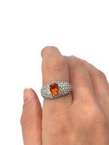 Lovely Heavy Vintage Sterling Silver 925 Fire Opal Topaz Ring Size S 6.2g #1455