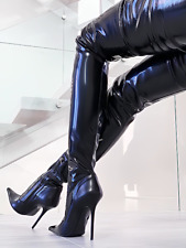 1969 ITALY OVERKNEE Z26 CROTCH OTK BOOTS SEXY HIGH HEELS LEATHER LEDER STIEFEL