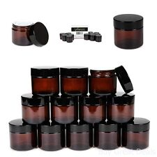 12 Amber 2 oz Round Glass Jars With Inner Liners And Black Lids