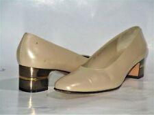 Salvatore Ferragamo Beige-Lea Almond-Toe Metallic-Block-Heel Pump Shoes SZ 7 AA